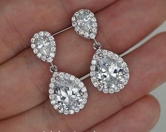Crystal Drop Earrings Teardrop Crystals Wedding Earrings White Gold Bridal Earrings - Ready to ship