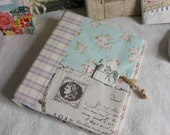 Ring binder lilac blue bird stamp house button