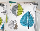 blue green grey leaves cushion cover, 16 inch turquoise lime decorative pillow cover