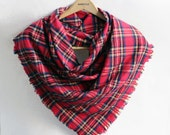 Oversized Plaid Blanket Scarf in Red Tartan