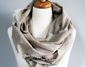 Oatmeal Infinity Scarf by Mandizzle - Lightweight Cotton with Frayed Edge