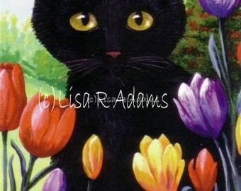 Black Cat Tulips Note Cards from Original Painting Creationarts Free Shipping