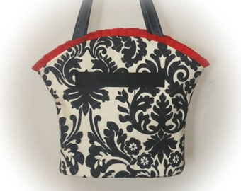 FREE Ship USA Canada - J Castle Boutique Bag - Waverly Cream Black Canvas Designer Fabric - - - (Ready to Ship)