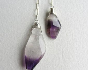 Ombre Purple Amethyst Sterling Silver Dangle Earrings on Chain
