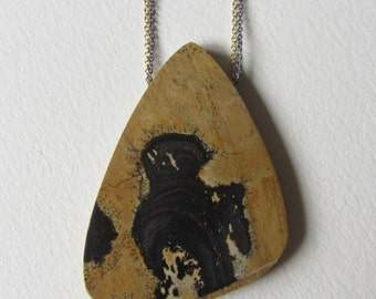Brown and Black Chohua Jasper Necklace Oxidized Silver and Gold Filled Chain One of a Kind Gift for Her Handmade in Seattle High Quality