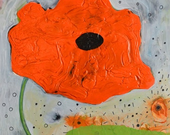 OOAK Original Red Poppy Flower Painting on Claybord