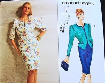 Vogue Paris Original Pattern, designer Emanuel Ungaro  Vogue Pattern   Jacket Top and Skirt Misses Size 12 14 16 UNCUT