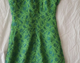 MINI DRESS Vintage Green and Turquoise Paisley Sparkly FittedHand Made