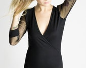 Black Bodysuit with tulle sleeves