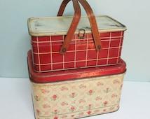 1950s Metal Picnic Tin, Red and Cream Windowpane Pattern, Plaid, Checkered