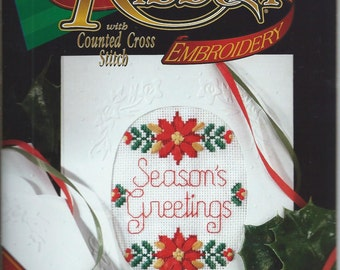 Designs for The Needle - Holiday Ribbon Embroidery with Counted Cross Stitch - 1801 Season's Greetings - CS021