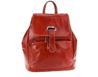 Orange leather backpack/rucksack/women backpack/purse/diaper bag/drawstring bag/ PLE/artoncrafts