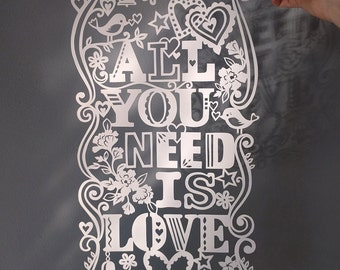 Template! All You Need Is Love Papercut