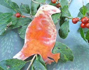 Puffin Maine Seabird Christmas Decoration, Rustic Copper Bird Xmas Tree Ornament, Beach Decor, Small Wall Hanging, Door Hanger Holiday Decor