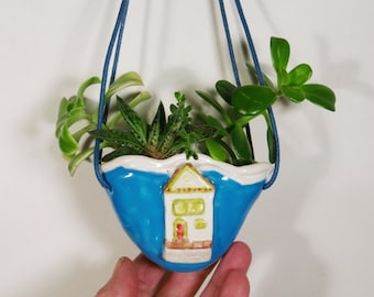 Cottage Hanging Planter Turquoise Blue Ceramic Vase Ornament Pocket Pouch Office Decor