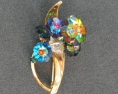 Vintage RIVOLI Glass Flower Brooch, Austria