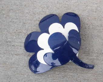 Vintage CORO Enameled Metal Flower Brooch, Layered Navy Blue and White Petals