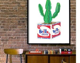 Brillo Cactus Warhol Print PRINTABLE FILE andy warhol inspired, cactus print,  pop art, pop art print, digital prints, laundry room art