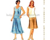 Kwik Sew 3254 Womens Plus Size Tops & Flared 8 Panel Skirt size 1X 2X 3X 4X Bust 45 - 57 Easy Learn-to-Sew Sewing Pattern Uncut