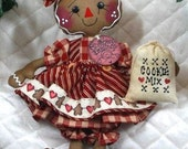 """Primitive Raggedy 2016 """"LITTLE COOKIE""""~CooKiE MiX ornie~12"""" doll!"""