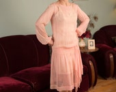 Vintage 1920s Dress - Powder Pink Silk Flapper Dress with Drape and Pearl Buckle - Greater Love