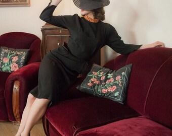 Vintage 1940s Dress - Lovely Black Rayon Crepe 40s Day Dress with Contrasting Pumpkin Orange Polka Dots Details