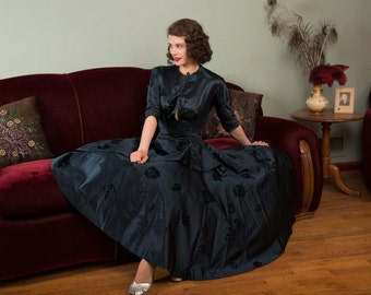Vintage 1950s Gown - Exquisite Custom Made Ombre Oyster Silk New Look 50s Dress with Velvet Leaves and Elaborate Side Drape