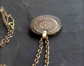 Etched Brass Floral Pendant Necklace - Rustic Texture, Brown Wood, Dark Oxidized Patina, Gold Brass, Silver Rivet, Metalwork Jewellery