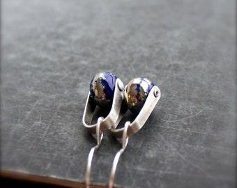 Cobalt Blue, Silverfoil Swing Drop Earrings - Sterling Silver Rivet, Handmade Lampwork Glass, Boho Metalwork Jewellery