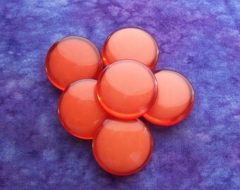 Flame Orange Buttons 27mm - 1 1/16 inch Smooth Glossy Orange Plastic Shank Buttons - 6 Vintage NOS Modern Tangerine Orange Buttons PL220