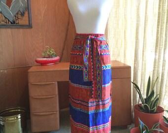 Vintage 60s Hawaiian Honeymoon Polynesian Tribal Print Maxi Skirt