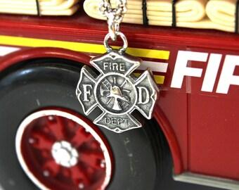Silver Firefighter Emblem Necklace Fire Dept. Pendant 486