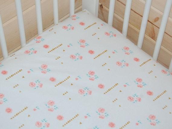 pink and gold baby bedding mini crib sheet pink crib sheet. Black Bedroom Furniture Sets. Home Design Ideas