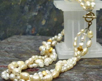 Creamy Pearl Torsade Necklace ~ 3 Strands of Genuine Natural Freshwater Pearls ~ Multi-strand Toggle Clasp Necklace