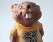 Vintage Secret Stuff Hallmark 1981 Cute Beaver Porcelain Wood Log Trinket Jewelry Box Shirt Tales Ring Collectible Gift Quite Rare