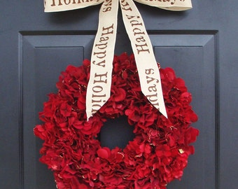 Holiday Wreath, Christmas Wreath, Hydrangea Wreath, Christmas Gift, Winter Wreath, Happy Holidays Red Wreath, Door Wreath