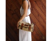 Khaki Twill Canvas Equestrian Shoulder Bag - Vintage 70s