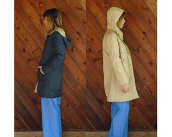 70s Reversible Hooded Khaki Rain and Navy Blue Quilted Parka Jacket Coat - XS