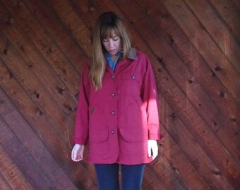 extra 30% off SALE ... Red Cotton Twill Parka Jacket with Corduroy Collar - Vintage 90s - MEDIUM M