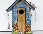 Navy and Gold Birdhouse , with Swing , Birdhouse in Eaves , Pick-up in Garage and lots of Flowers