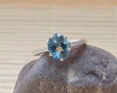 London Blue Topaz Ring Oval Sterling Silver December Birthstone Ready to ship size 7