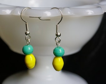 Yellow and Green drop earrings