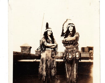 vintage Photo Native American Man Woman Indian Dress Head Dress old snapshop Vernacular