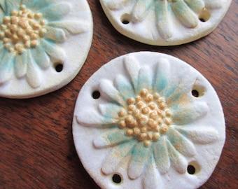 LAST ONE Fresh as a Daisy, Multi Holed Pendant, Ceramic Pendant, Daisy, Daisy Pendant, The Classic Bead, Daisy Pendant, Artbead