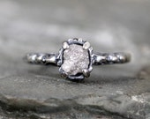 Raw Diamond Ring - Sterling Silver Filigree Ring - Dark Patina - Antique Styled Engagement Ring - Rustic Gemstone Ring - April Birthstone