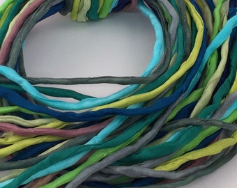 Hand Painted Silk Cord - Hand Dyed Silk - Silk Ribbon - Jewelry Supplies - Wrap Bracelet - Craft Supplies - 2mm Silk Cord Item No.399