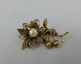 Cherry Blossom Brooch- Pearl & Gold Floral Brooch- Cherry Flower Brooch- 3D Floral Pin- Vintage Brooch- Floral Jewelry