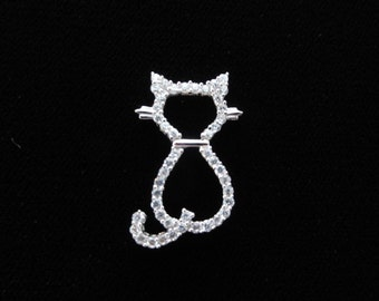 Kitty Cat Sterling Silver Charm, Sparkle Clear Rhinestone 925 Pendant, Cat Silhouette Charm