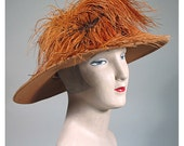 1910s to 1920s Gold and Chocolate Felt Vintage Hat with Stunning Ostrich Plumes