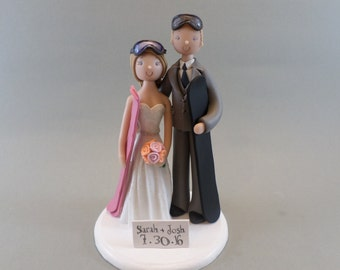 Cake Toppers - Bride & Groom Custom Snowboard/ Ski Theme Wedding Cake Topper